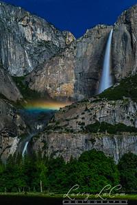 Yosemite National Park; Moonbow in the mist of Yosemite Falls