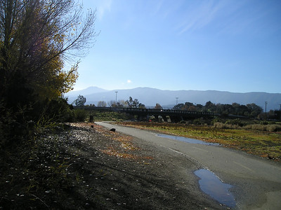 The Guadalupe River trail is paved, which makes it nicer to walk when it's wet from all the recent rain.