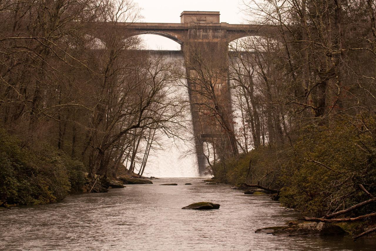 Prettyboy dam from Gunpowder Falls State Park.