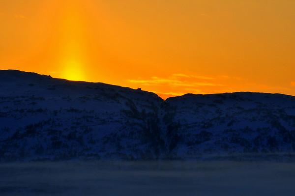 Fin himmel i solnedgangen 21.12.2010. - 17gr.