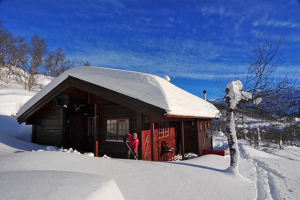 Snømåking på Hytta i dag 12.02.2011
