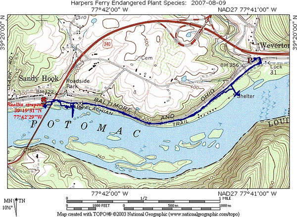Map--blue line walked