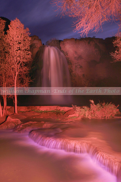 Havasu Falls after dark.  Light Painting 2