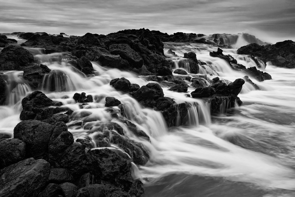 High Tide at the Honolua Tide Pools, Maui (B&W)