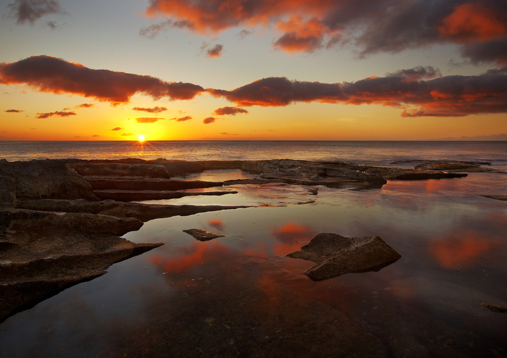 Sunset and Tide Pool Reflection, Ko'Olina, Oahu