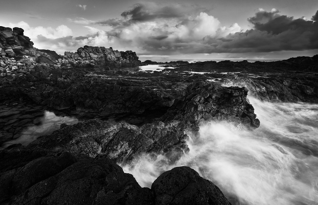 Surf and Tide Pools (B&W)<br /> Northwest Maui