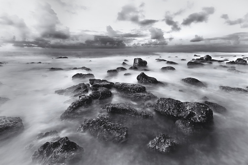 Poipu Beach Sunrise BW
