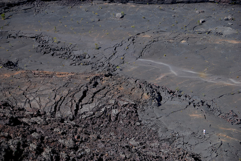 Kilauea Iki crater floor; note person for scale in lower right corner