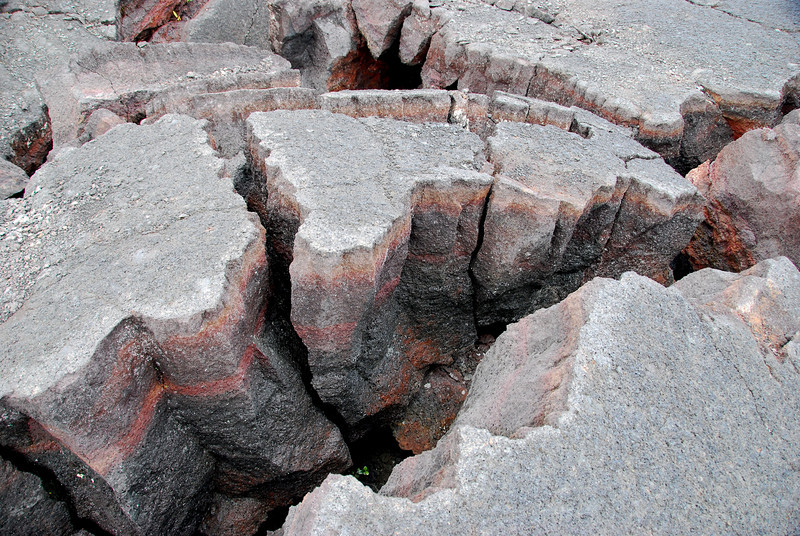Cracks in lava, Kilauea Iki