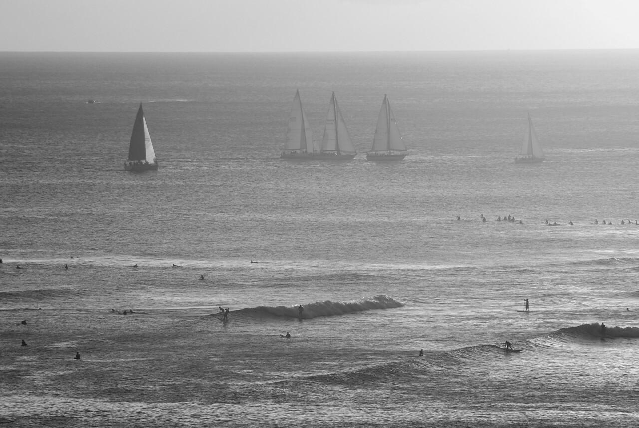 Waikiki boats and surfers