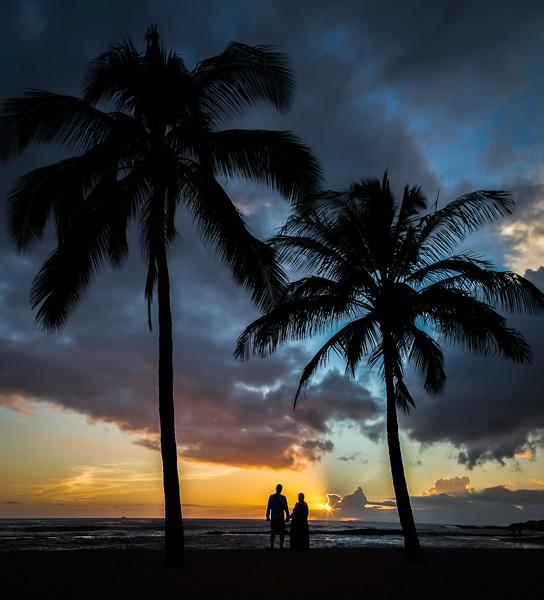 Betty and Jeff Sunset Kauai-Salt Pond_0601