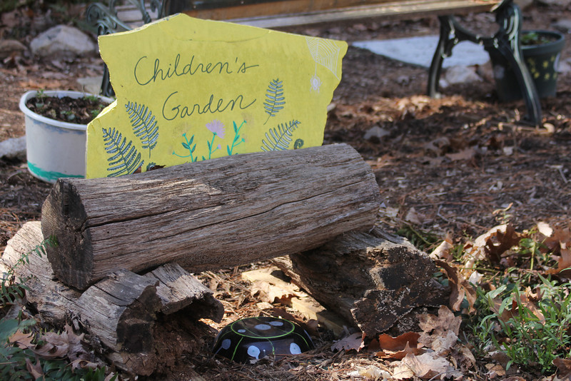 portion of children's garden (that's a toad house with the spots)