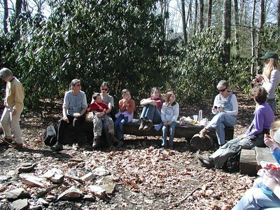 Taking a lunch break during the Hemphill Bald/Cataloochee Ranch Hike located in Maggie Valley, NC.