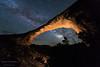 The Milky Way behind Owachomo Bridge in Natural Bridges National Monument.  Utah, USA.