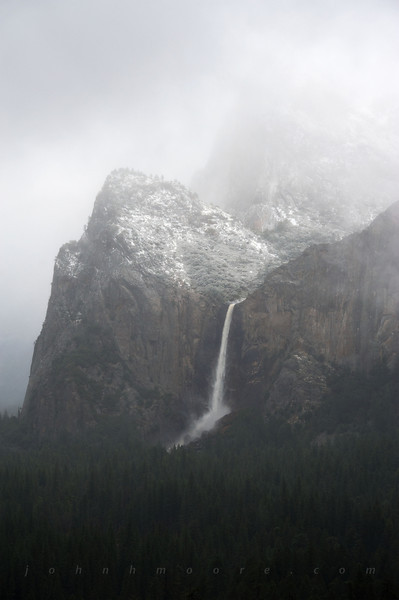 Bridalveil Falls in fog -- Yosemite National Park