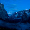 "Yosemite Valley from Tunnel View just after sunset in the beginning of the ""blue hour"" -- right after a winter storm"