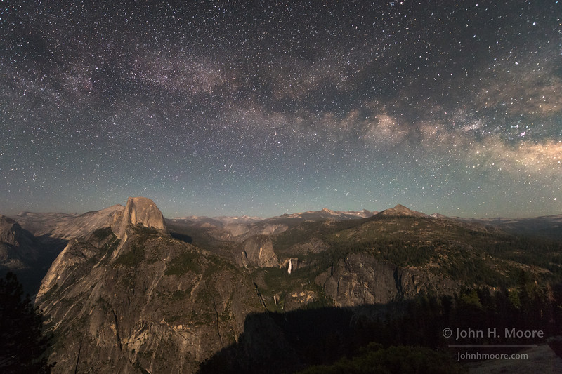 The Milky Way over Half Dome, Nevada Falls, and Vernal Falls as the crescent moon sets.  Yosemite National Park, California, USA