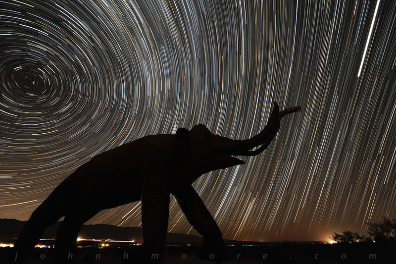 Star trails behind a woolly mammoth, with a single Perseid meteor thrown in...