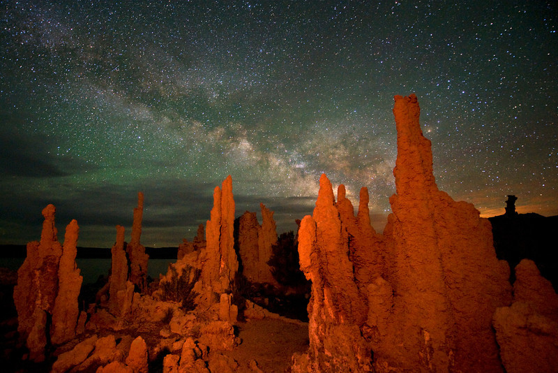 Milky Way over tufa towers at night