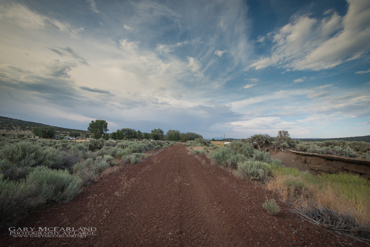 Nevada–California–Oregon Railway roadbed looking North from Madeline, CA.