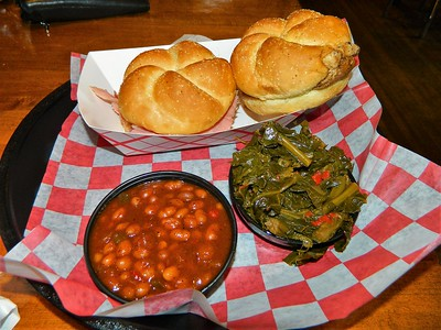 "Late lunch at Andy Nelson's: Ham sandwich, ""Yard Bird"" chicken sandwich, barbecue baked beans and collard greens"