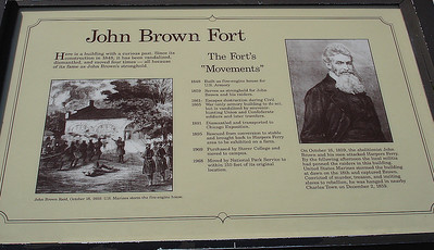 Plaque explaining John Brown Raid on Harpers Ferry.
