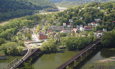 View of Harpers Ferry from cliffs.