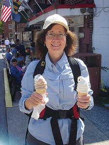 Donna enjoying some soft frozen custard.
