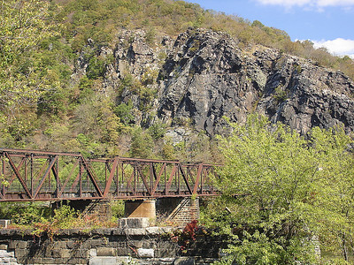 Views of the Maryland Height Cliffs from Harpers Ferry, West Virginia.