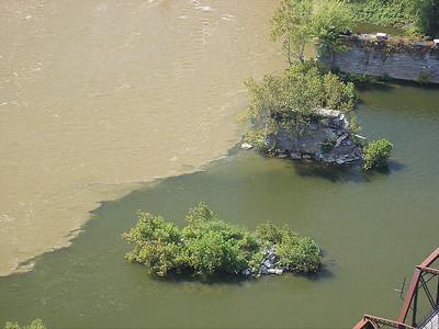 Remnants of an old railroad bridge.