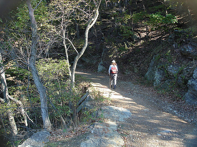 Donna heading up the Maryland Heights trail