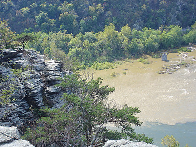 Looking down on the muddy Shenandoah River.