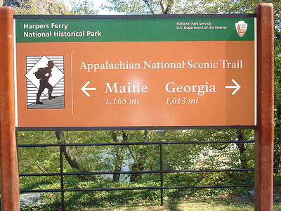 New AT sign at the point where the Shenandoah and Potomac rivers converge; Harpers Ferry, West Virginia.