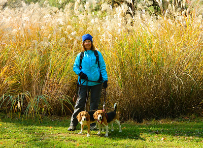 Donna, Danny and Dug by the pampas grass