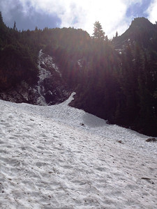 The dreaded avalanche chutes...I was surprised at how much snow there still was so late in the year!