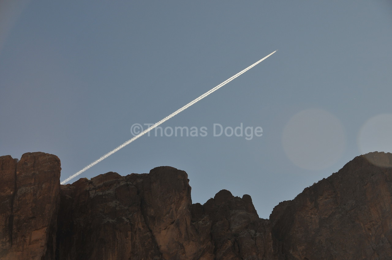 "Jet trail over ""Flat Iron,"" Superstition Mountains, Apache Junction, AZ."