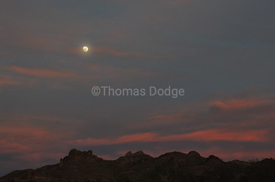 Moonrise over Lost Dutchman State Park, Superstition Mountains, AZ.
