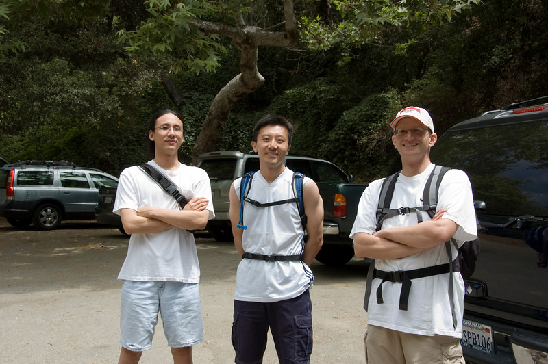 This picture was taken at the start of our hike.  From left to right, Jesse Chang, Mike Ha, and Paul Alms.  Note how clean and well rested we were.
