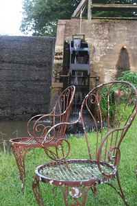 Waterwheel dam at Panther Valley Ranch.  Chairs to set and fish if you like!