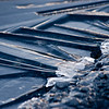 Ice on Portage Lake shoreline, Alaska.