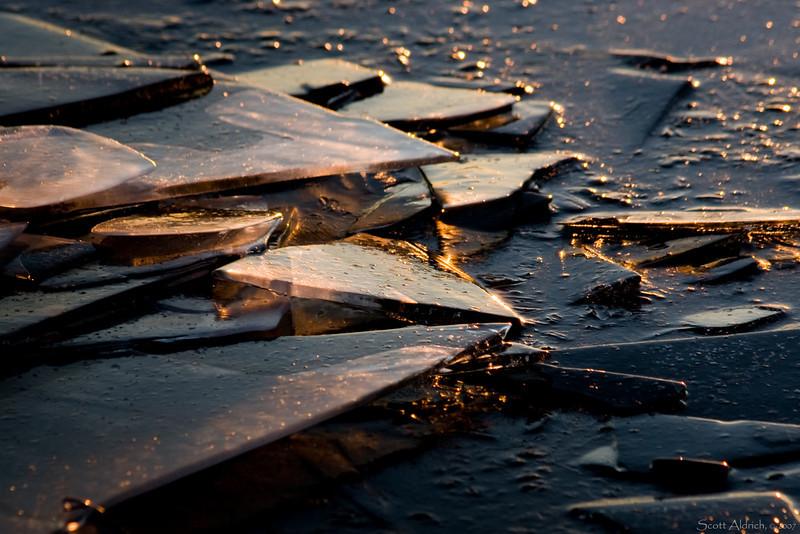Ice on lake near sunset - Alaska.