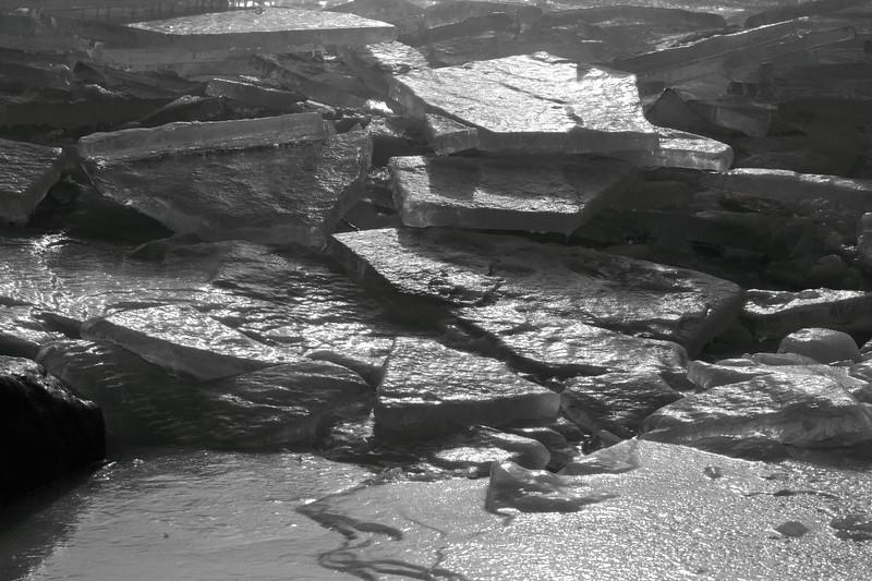Ice Slab Pile(monochrome)- Lake Superior