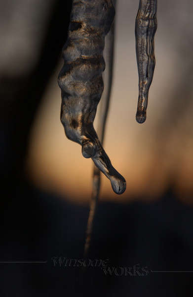 Dripping icicle at dusk - Quakertown, PA