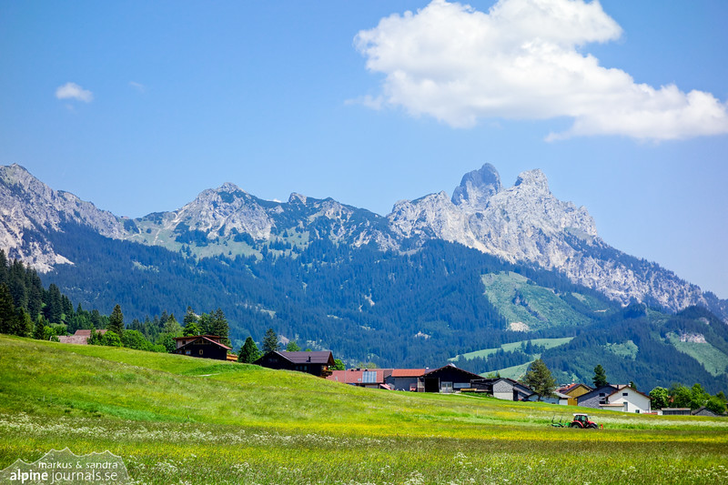 Signature mountains of Tannheim - Gimpel and Rote Flüh - under a summer cloud.