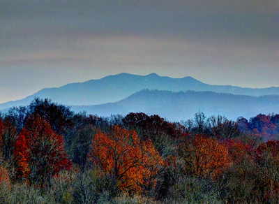 Mt. LeConte, as seen from LeConte Overlook in Ijams Nature Center. This is a distance of about 35 miles.