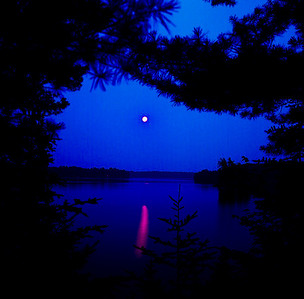 Moon Reflected on Big Wolf Lake, New York