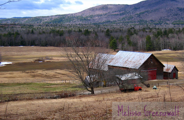 Red truck, barn, and hayfields lie dormant for a little while longer. Campton, NH.
