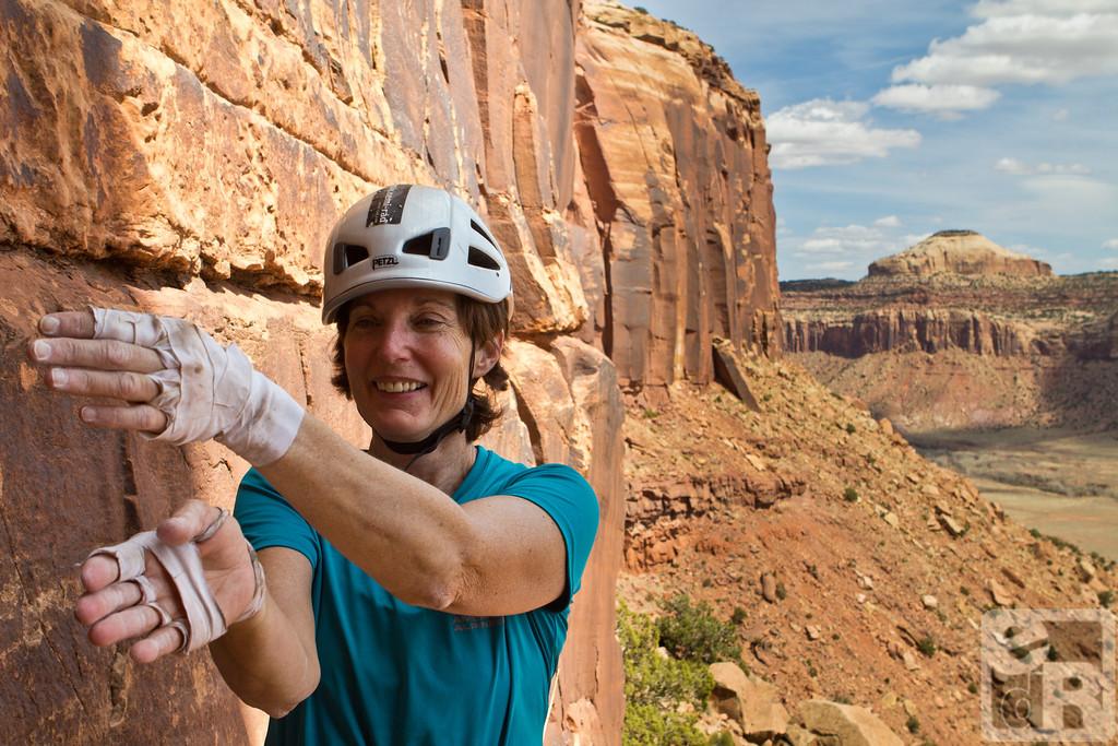 Terri demonstrates how she climbed it