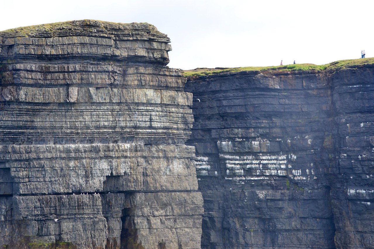 More turbidites; people for scale on the top of the cliff