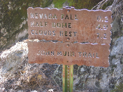 Sign at junction of Panorama and John Muir trails; from this point I stayed on the John Muir trail to its southern end.